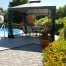 Gazebo In A Sunny Backyard With Swimming Pool